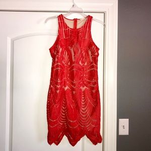 Majestic Lace Dress - Coral Red
